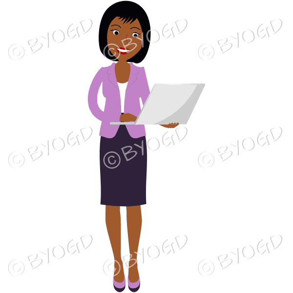 (Pink top) A woman standing and holding a laptop