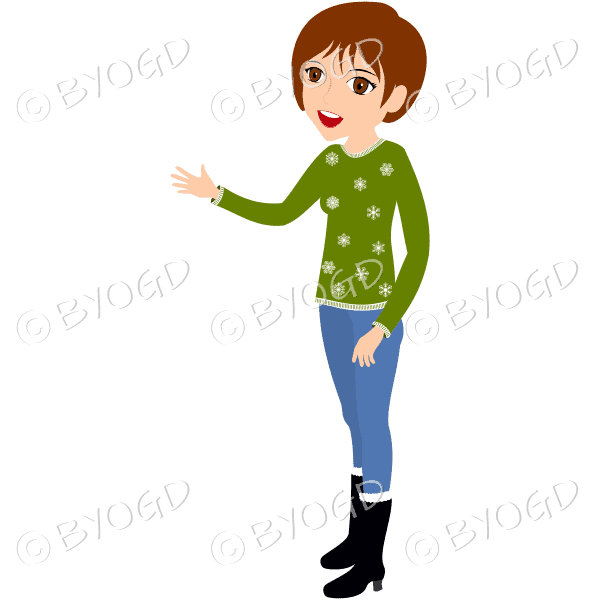 (Short brown hair) A woman wearing a green jumper, jeans and boots