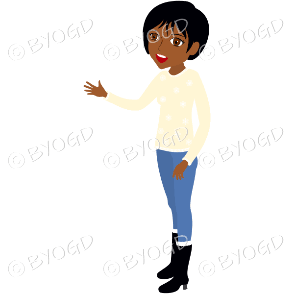 (Short black hair) A woman wearing a cream jumper, jeans and boots