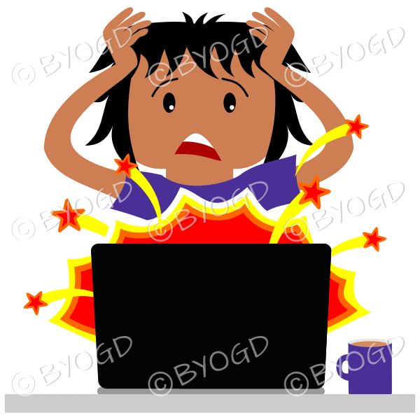 (Purple top) A man sitting in front of a broken laptop