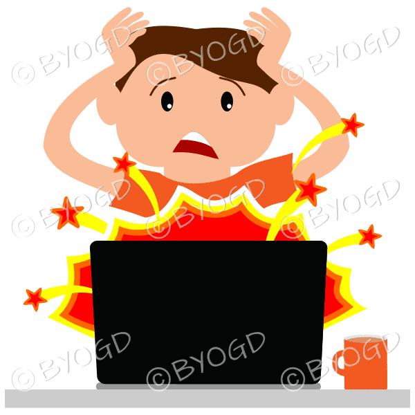 (Orange top) A man sitting in front of a broken laptop