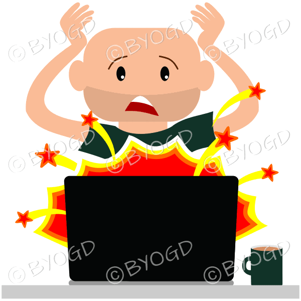 (Green top) A man sitting in front of a broken laptop