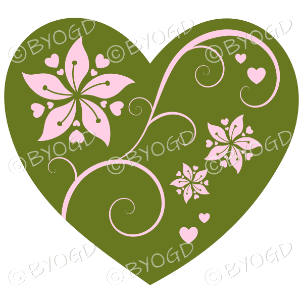 Hearts, flowers and swirls - pink on green