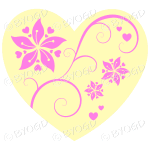 Hearts, flowers and swirls - pink on cream