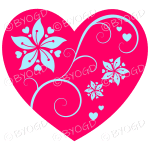 Hearts, flowers and swirls - blue on red