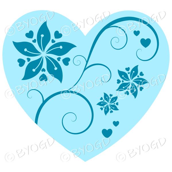 Hearts, flowers and swirls - dark blue on pale blue