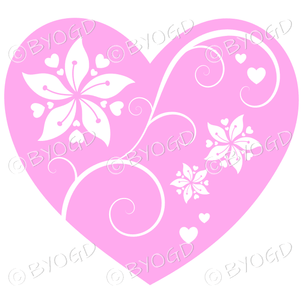 Hearts, flowers and swirls - white on pink