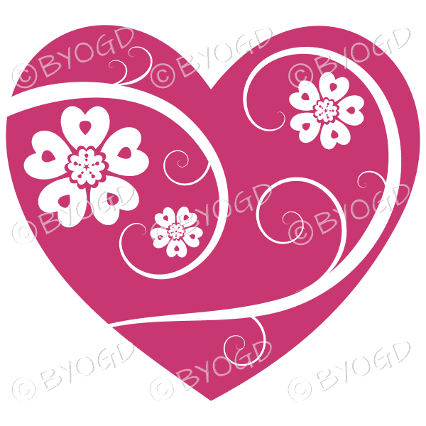 Hearts, flowers and swirls - white on dark pink