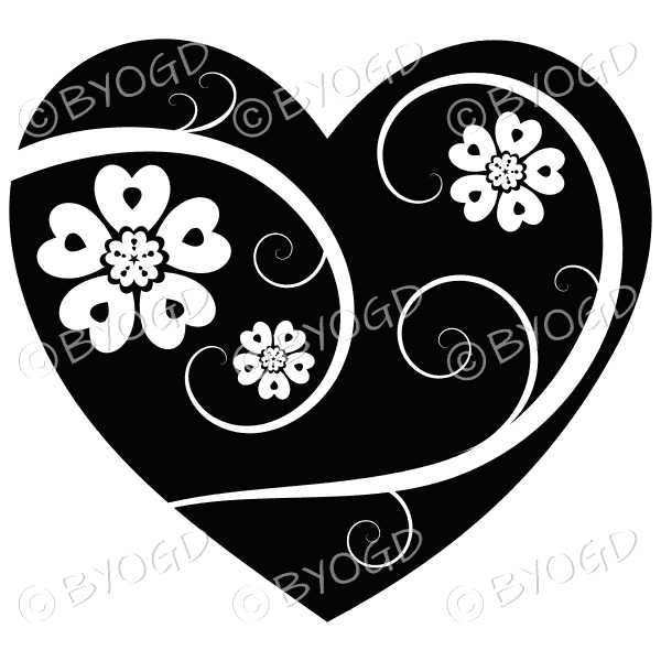 Hearts, flowers and swirls - white on black