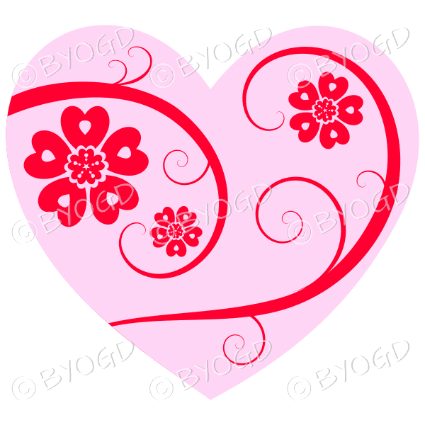 Hearts, flowers and swirls - red on pink