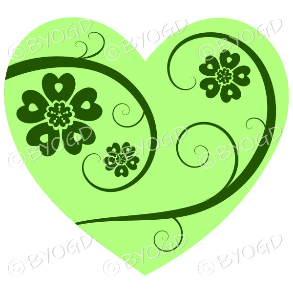 Hearts, flowers and swirls - dark green on bright green