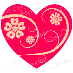 Hearts, flowers and swirls - beige on red