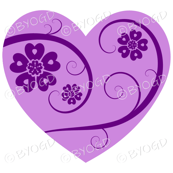 Hearts, flowers and swirls - dark purple on light purple