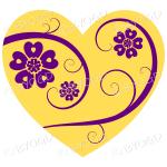 Hearts, flowers and swirls - purple on yellow