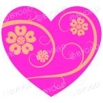 Hearts, flowers and swirls - yellow on dark pink