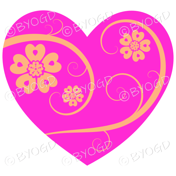 Hearts, flowers and swirls - yellow on dark pink