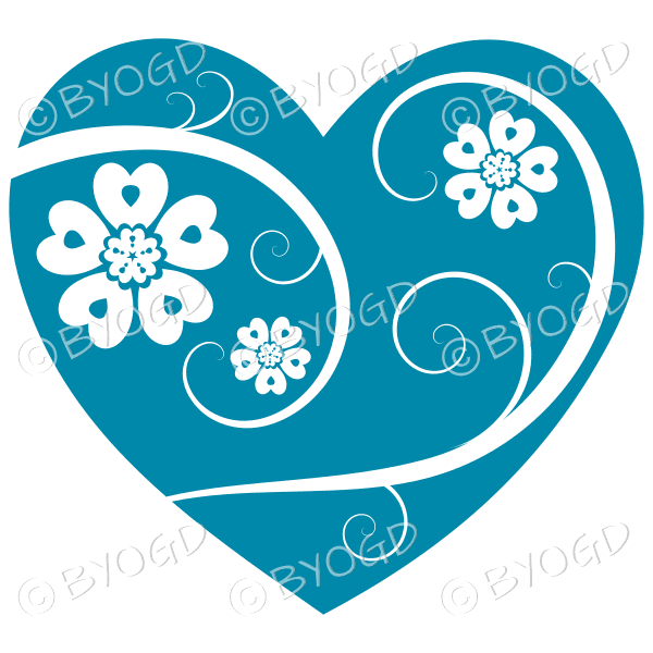 Hearts, flowers and swirls - white on teal