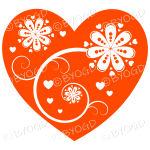 Hearts, flowers and swirls - white on orange