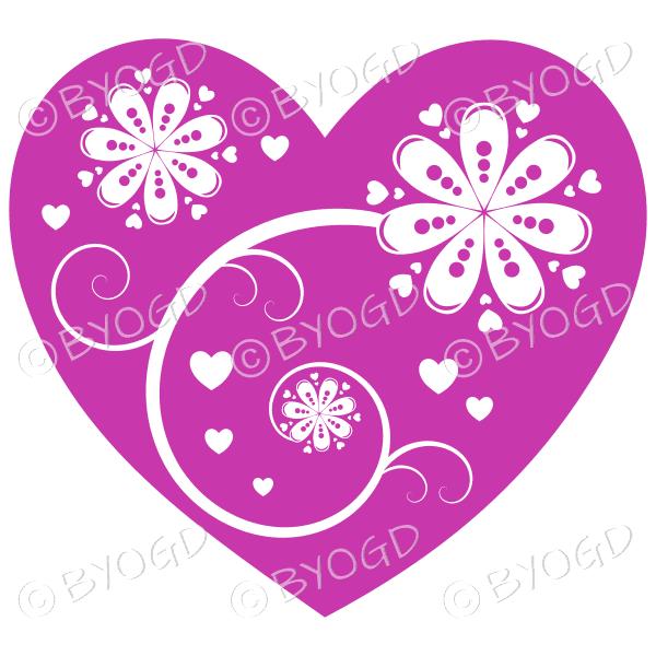 Hearts, flowers and swirls - white on purple