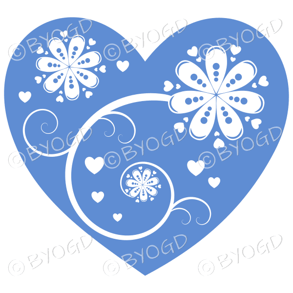 Hearts, flowers and swirls - white on pale blue