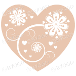 Hearts, flowers and swirls - white on beige