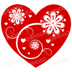 Hearts, flowers and swirls - white on red