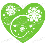 Hearts, flowers and swirls - white on bright green