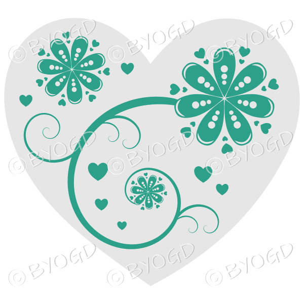 Hearts, flowers and swirls - green on white