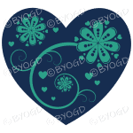 Hearts, flowers and swirls - green on blue