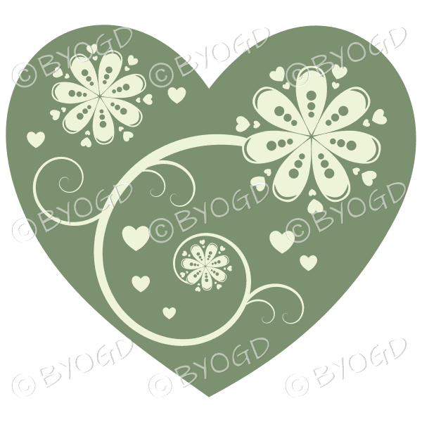 Hearts, flowers and swirls - white on moss green
