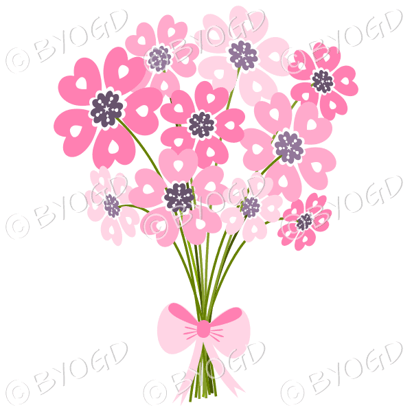 Bunch of pink daisy-like flowers