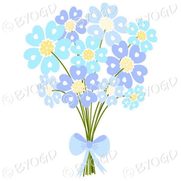 Bunch of blue daisy-like flowers