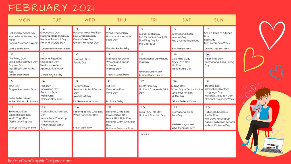 Monthly Calendar February 2021
