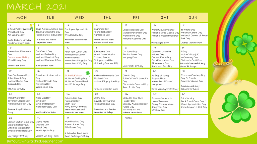 Monthly Calendar March 2021