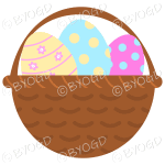 Yellow, Blue and Pink Easter Eggs in basket