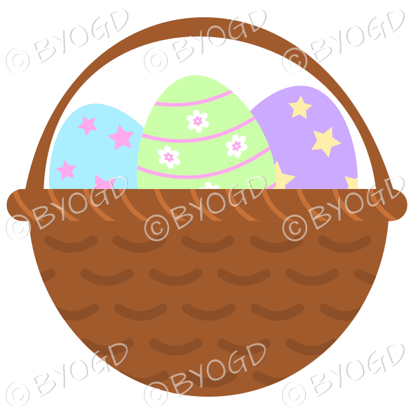 Blue, Green and Purple Easter Eggs in basket