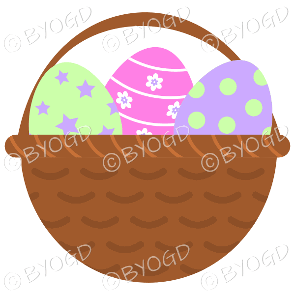 Pink, Green and Purple Easter Eggs in basket