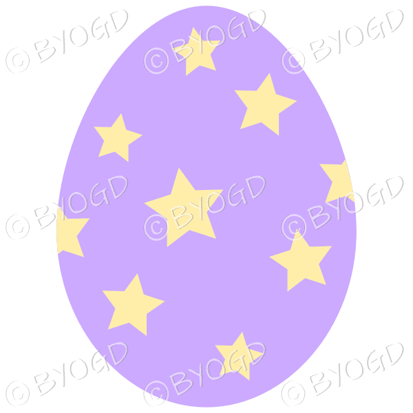 Purple Easter Egg with Yellow star decoration