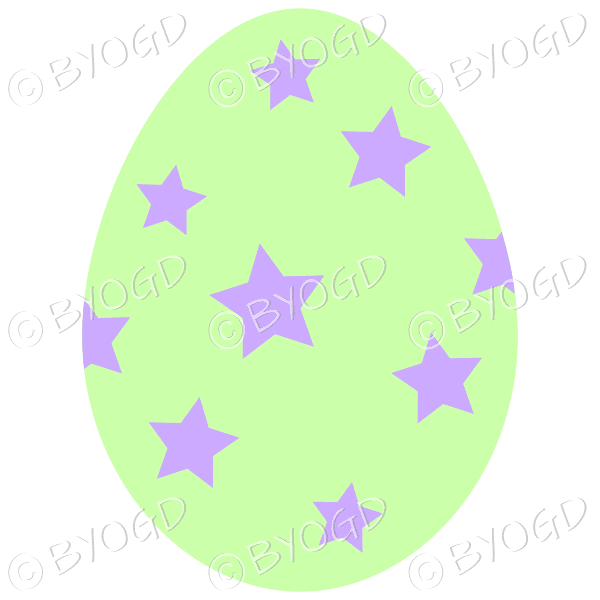 Green Easter Egg with Purple star decoration