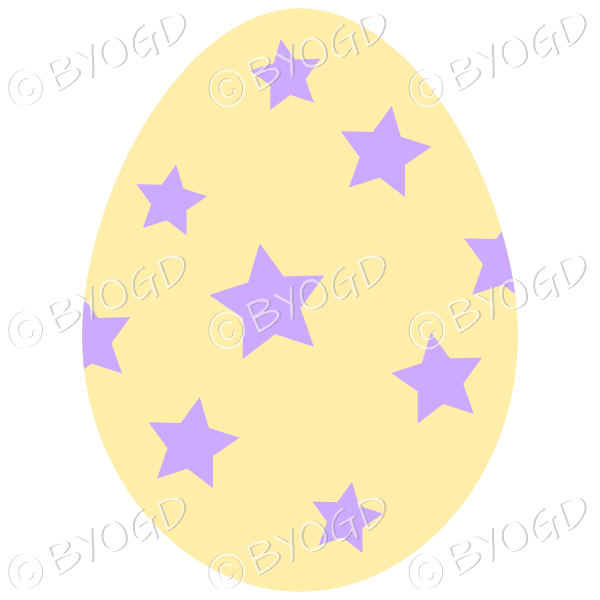 Yellow Easter Egg with Purple star decoration