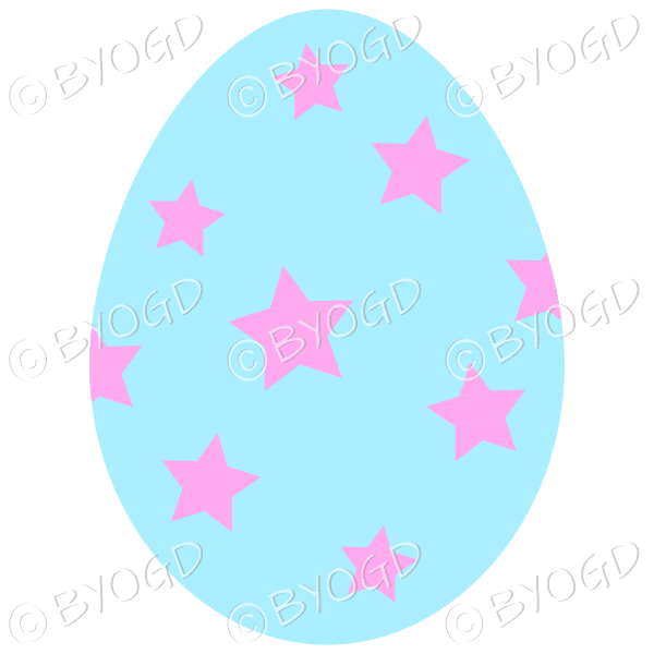 Blue Easter Egg with Pink star decoration
