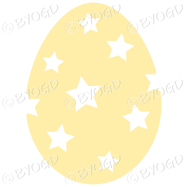 Yellow Easter Egg with White star decoration