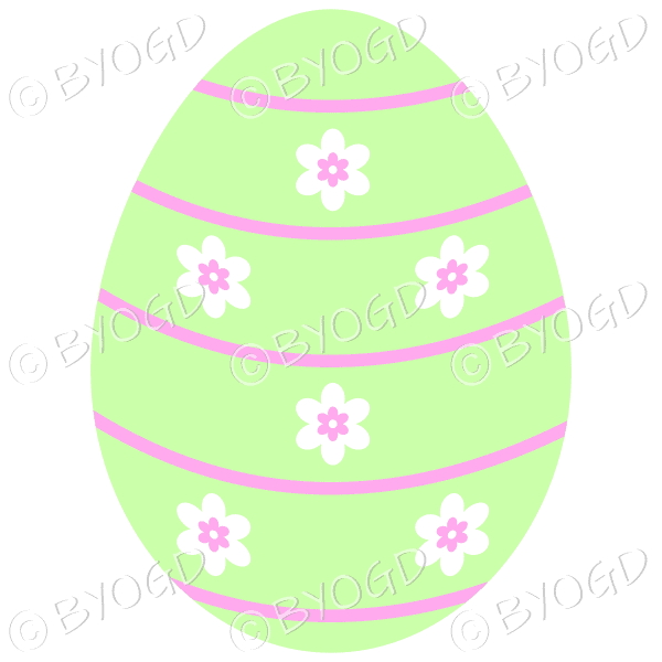 Green Easter Egg with white and pink flower decoration