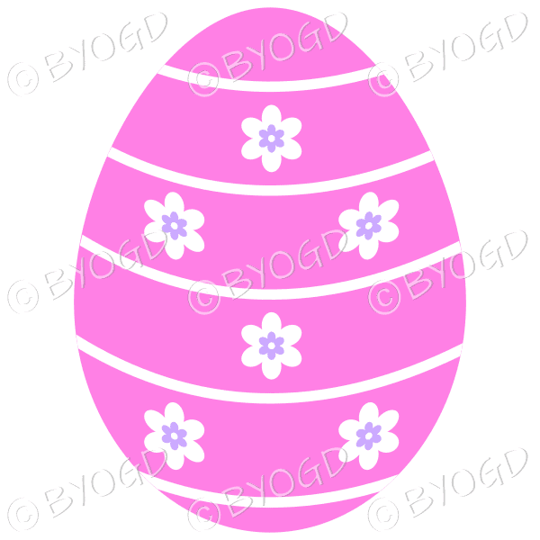 Pink Easter Egg with white and purple flower decoration