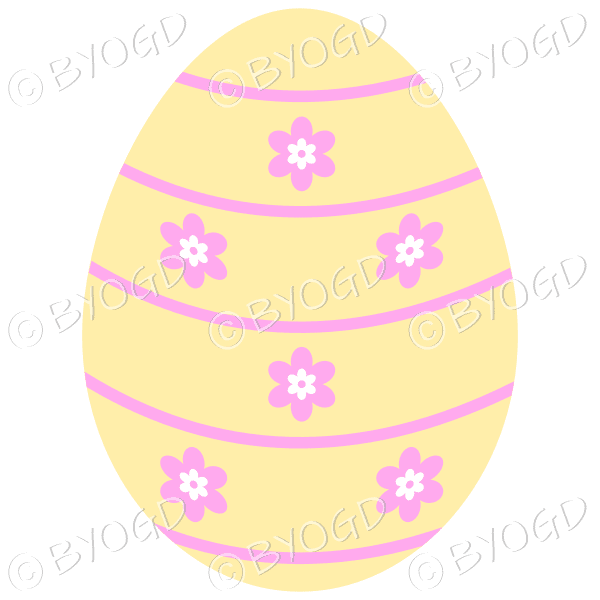 Yellow Easter Egg with pink and white flower decoration