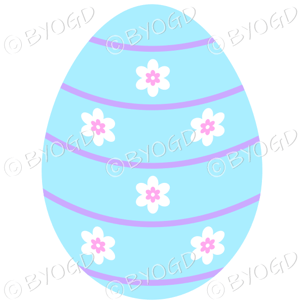 Blue Easter Egg with white and pink flower decoration