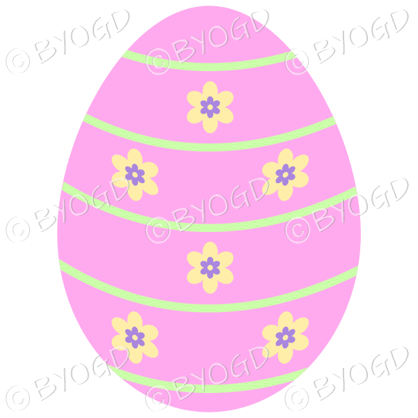 Pink Easter Egg with yellow and purple flower decoration
