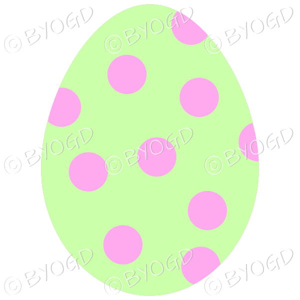 Green Easter Egg with pink spot decoration