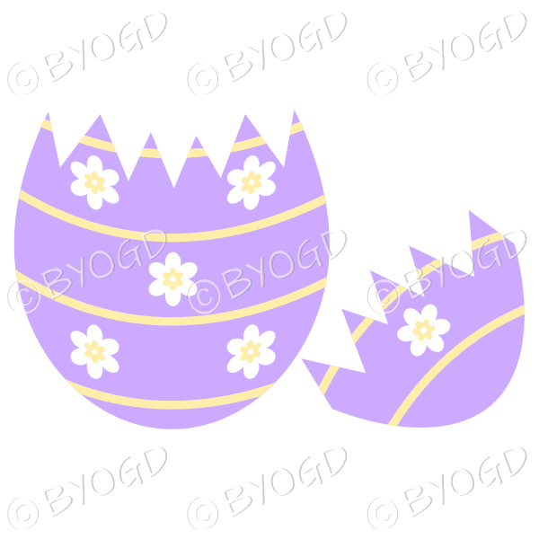 Cracked purple Easter Egg with white and yellow flower decoration