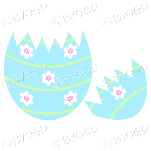 Cracked blue Easter Egg with white and pink flower decoration